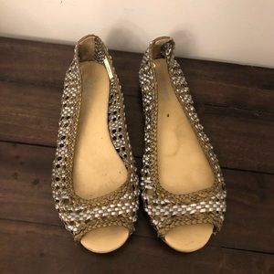 Old navy silver and gold flats